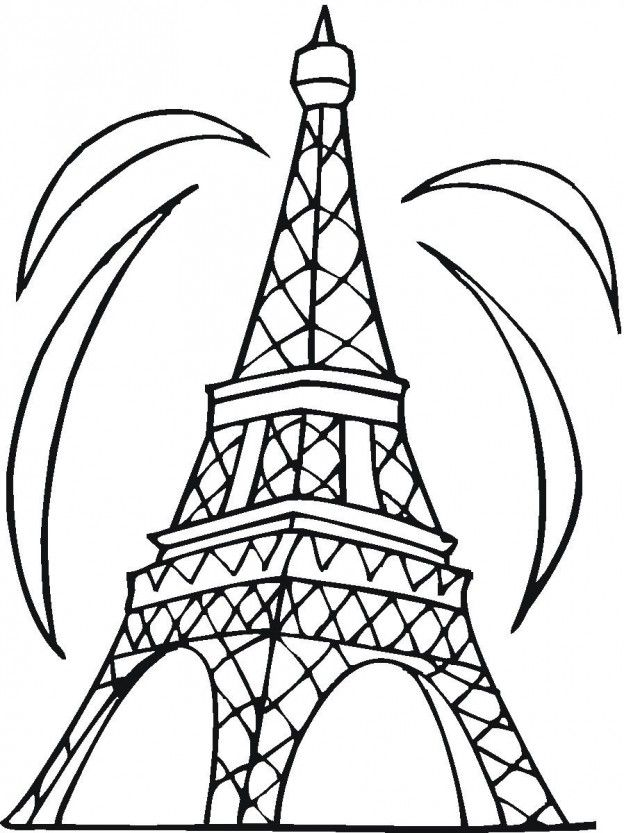 Eiffel Tower Coloring Sheet Coloring Home