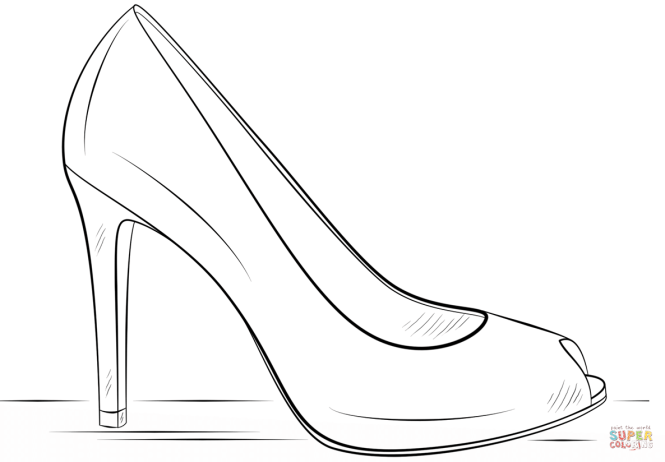 High Heel Shoe Coloring Page Free Printable Pages