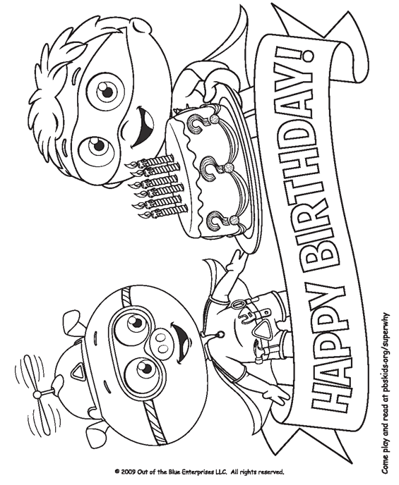Super Why Happy Birthday Coloring Page Coloring Home