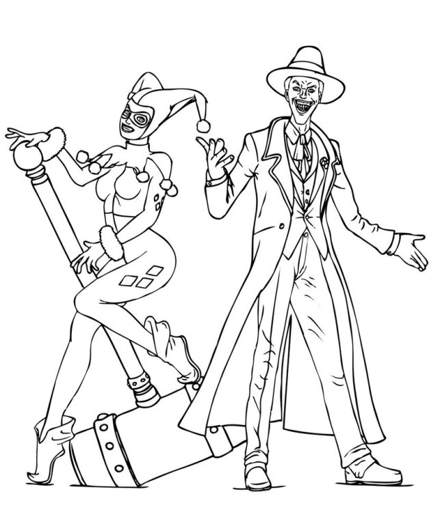 Harley Quinn And Joker Coloring Pages Joker, Harley Quinn Classic