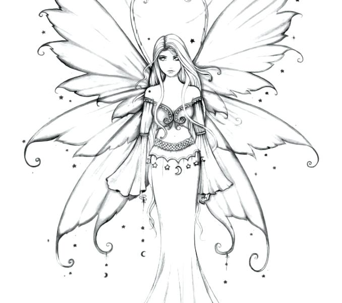 Hard Coloring Pages Of Fairies At Getdrawings Com Free For Coloring Home