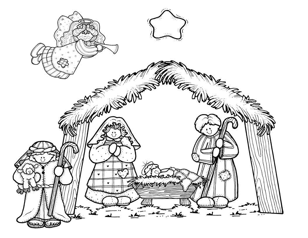 Printable Nativity Characters Coloring Pages Sketch