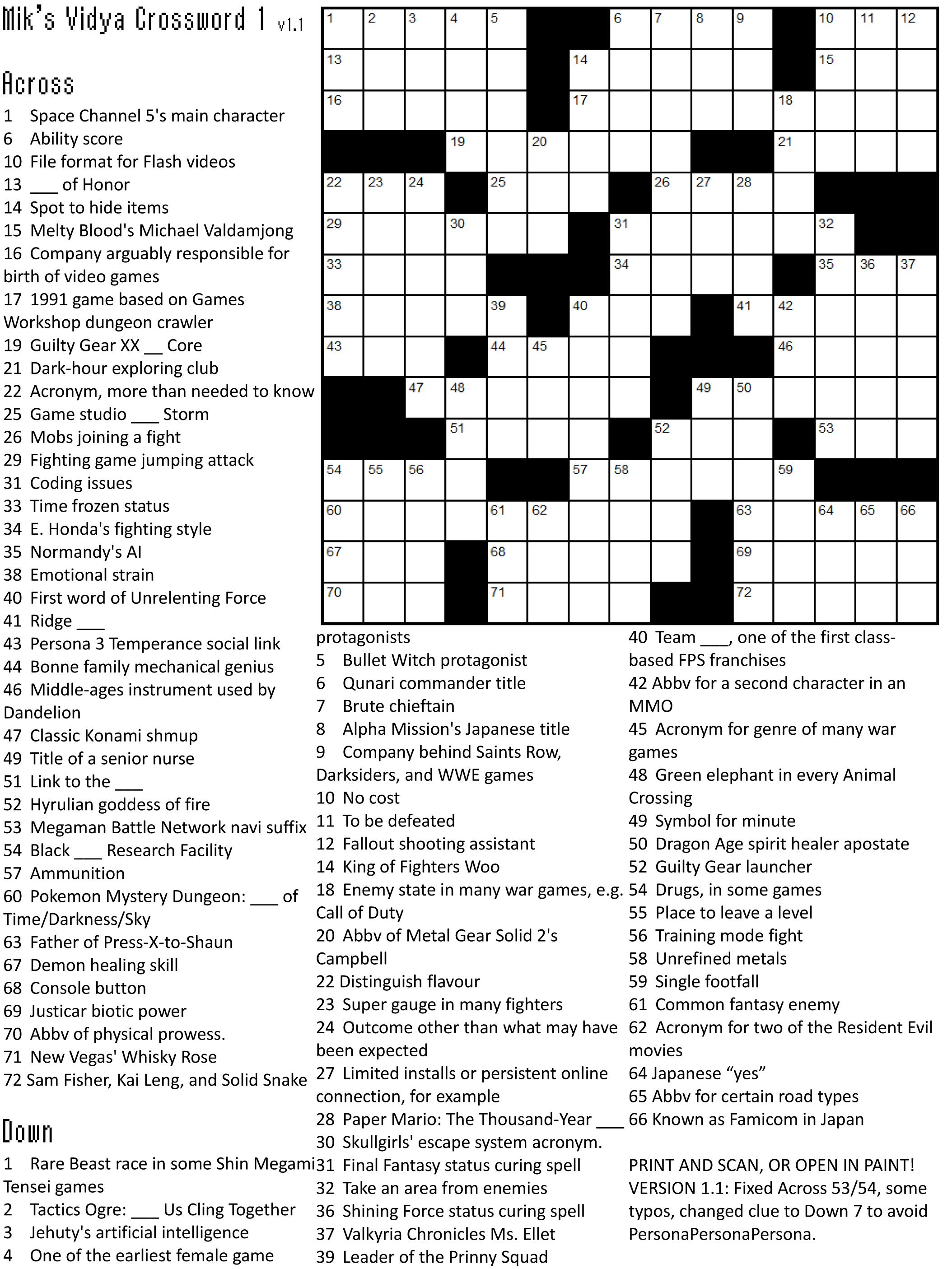 Printable Crossword Puzzles 1