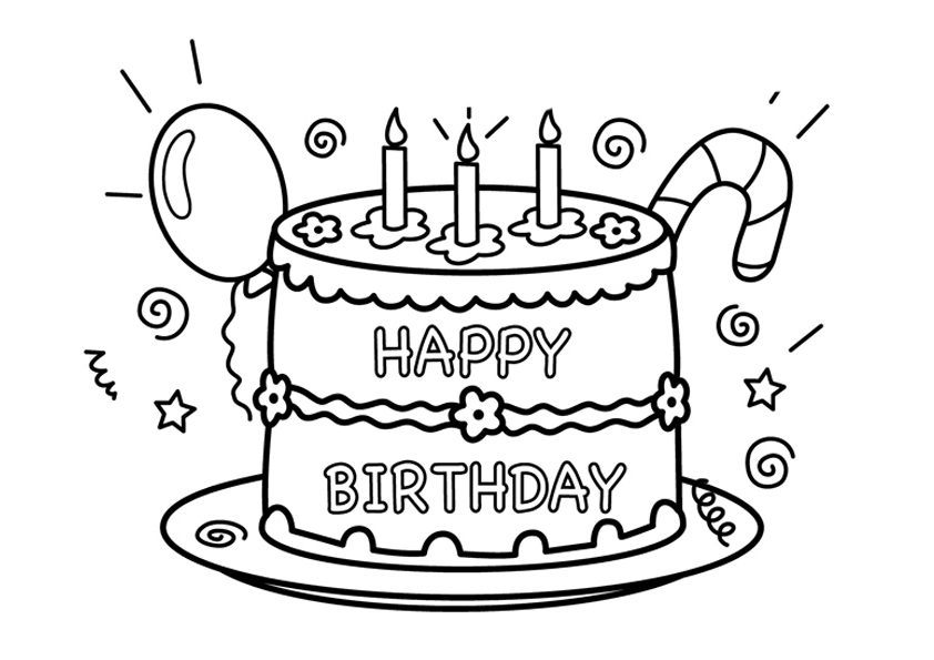 A Birthday Cake Coloring Page Free Printable Coloring Pages For Kids