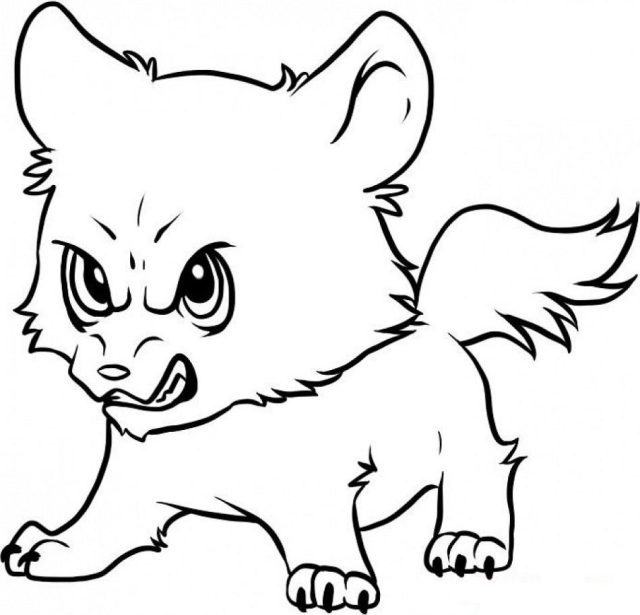 Angry Baby Wolf Coloring Page - Free Printable Coloring Pages for Kids