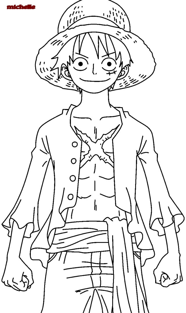 One Piece Luffy After 20 Years Coloring Page - Free Printable