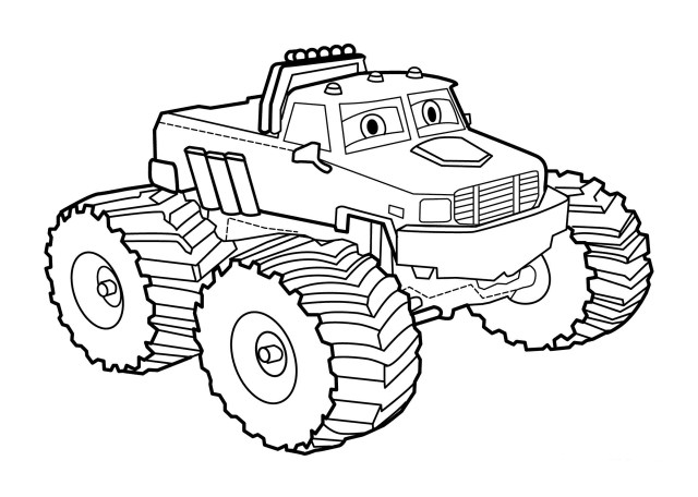 Awesome Cartoon Monster Truck Coloring Page - Free Printable