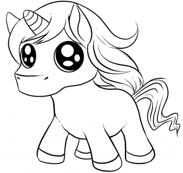 Baby Cute Gillter Eyes Unicorn Coloring Page - Free Printable