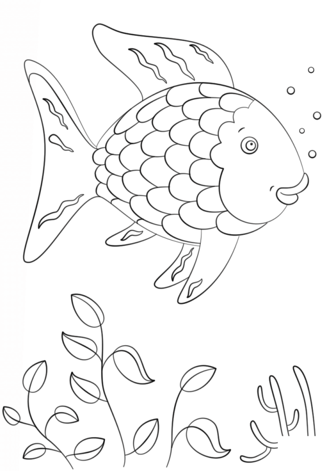Rainbow Fish Swimming Coloring Page - Free Printable Coloring