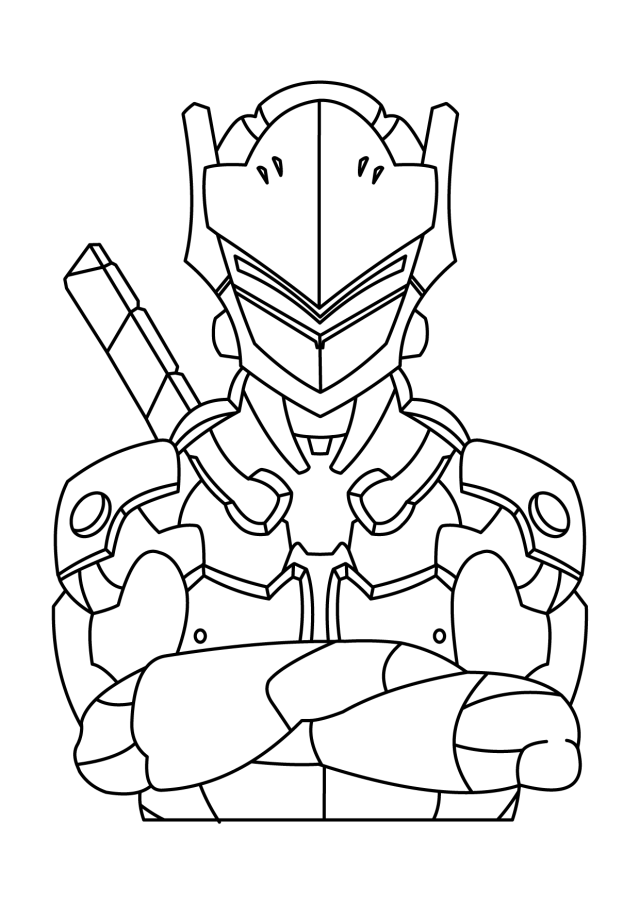 Genji Front Coloring Page - Free Printable Coloring Pages for Kids