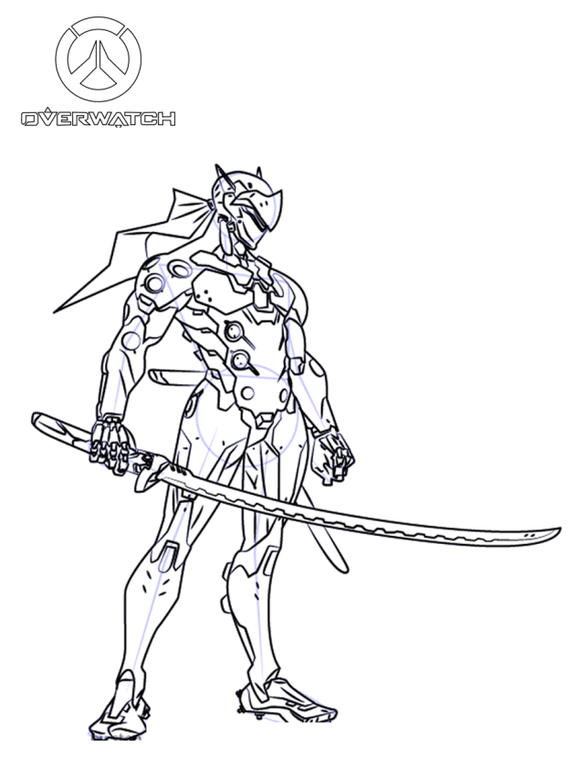 Genji From Overwatch Coloring Page - Free Printable Coloring Pages