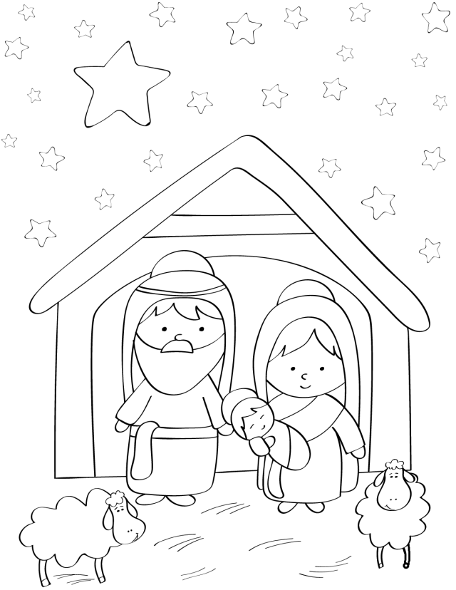 Mary, Joseph And Baby Jesus Coloring Page - Free Printable