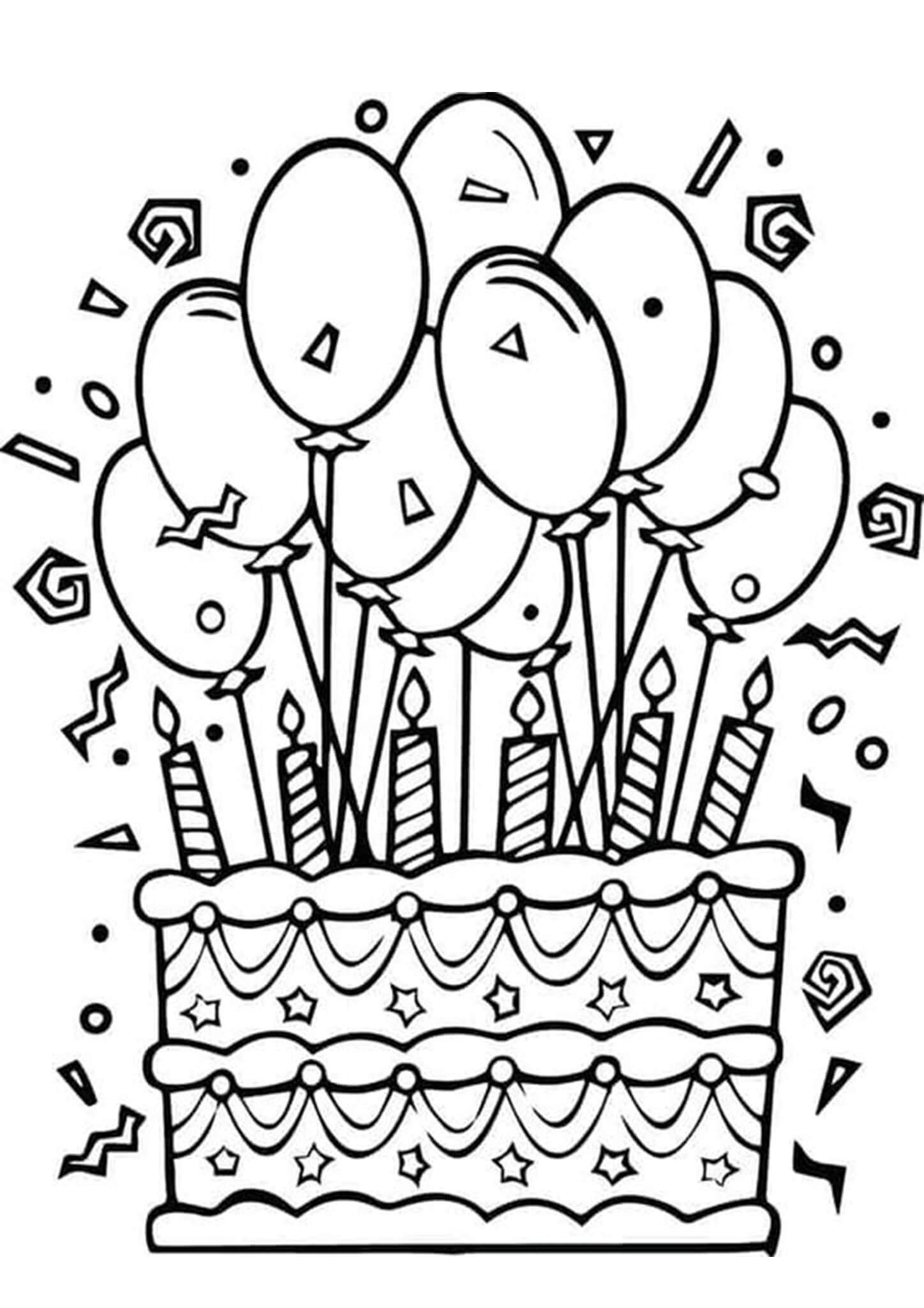 Balloons Birthday Cake Coloring Page Free Printable Coloring Pages For Kids