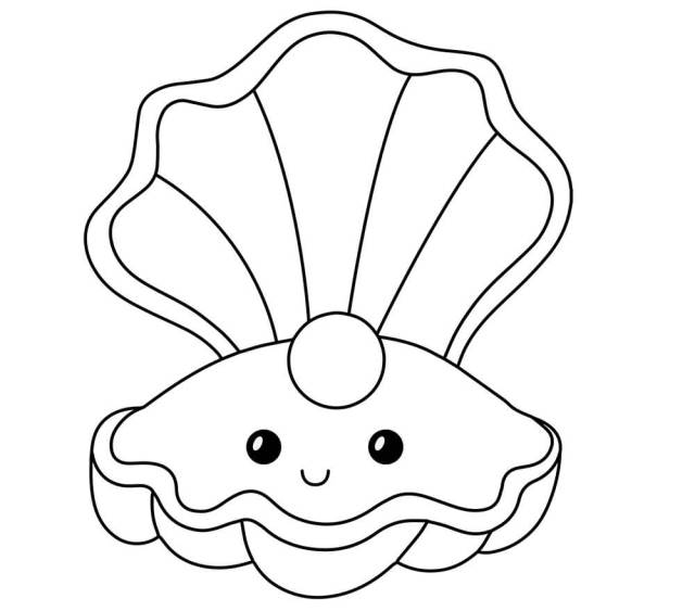 Cartoon Seashell Coloring Page - Free Printable Coloring Pages for