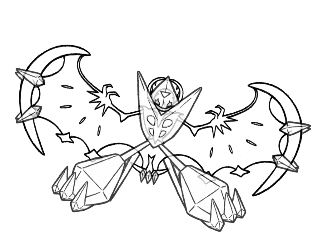 Dawn Wings Necrozma Coloring Page Free Printable Coloring Pages For Kids