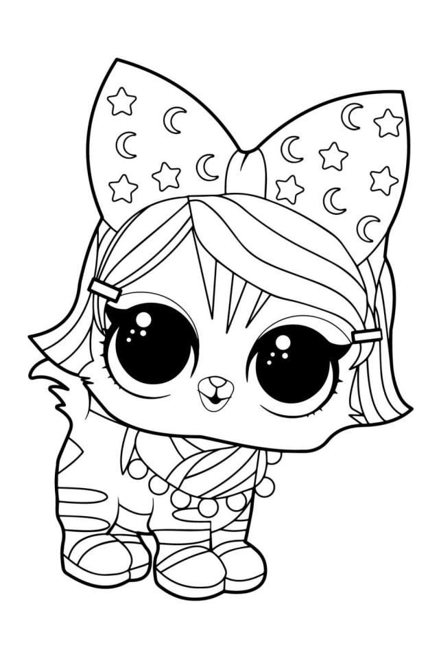 LOL Rare Pet Kitten Night Coloring Page - Free Printable Coloring