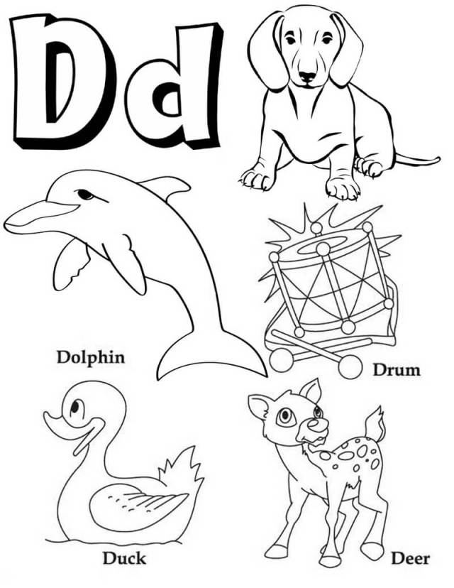 Letter D Coloring Page - Free Printable Coloring Pages for Kids