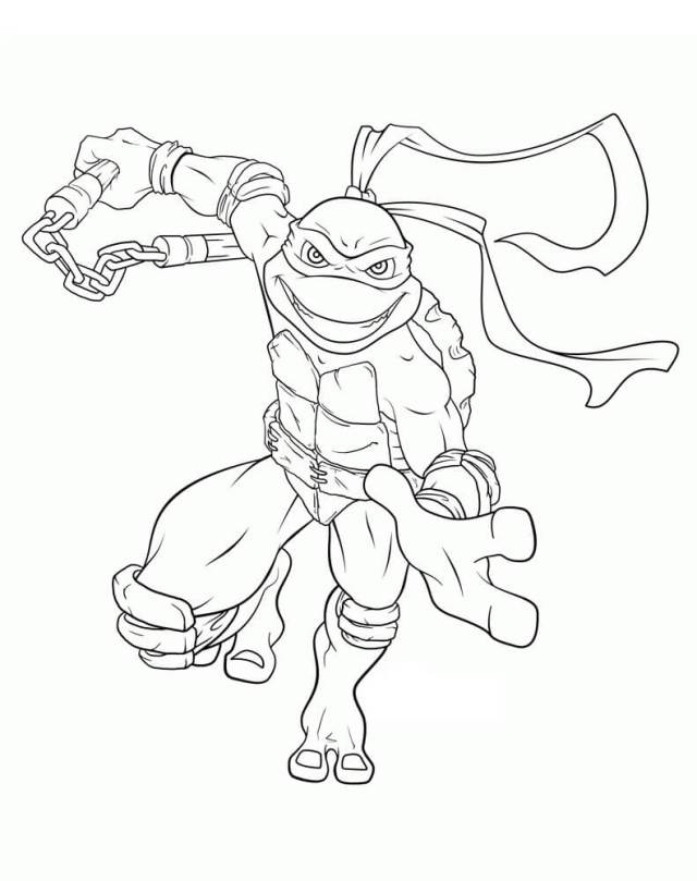 Smiling Michelangelo Coloring Page - Free Printable Coloring Pages