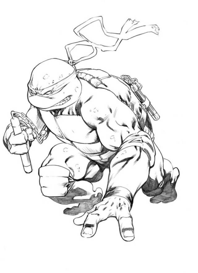 Strong Michelangelo Coloring Page - Free Printable Coloring Pages