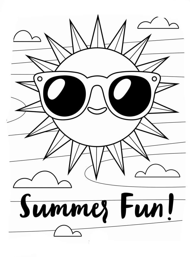 Sun and Summer Coloring Page - Free Printable Coloring Pages for Kids