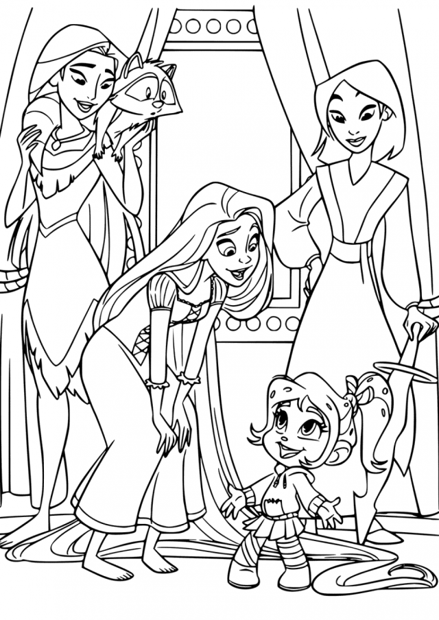 Vanellope and Disney Princess Coloring Pages