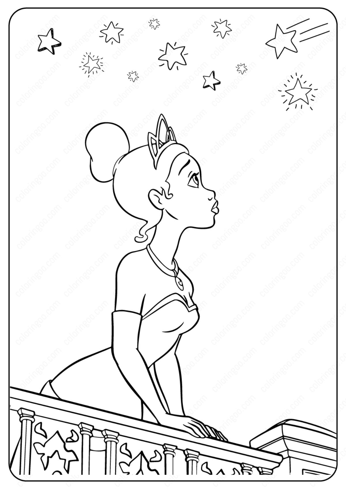 Printable Disney Tiana Under The Stars Coloring Pages