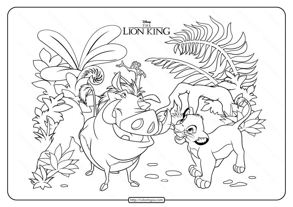 Printable Disney The Lion King Coloring Page