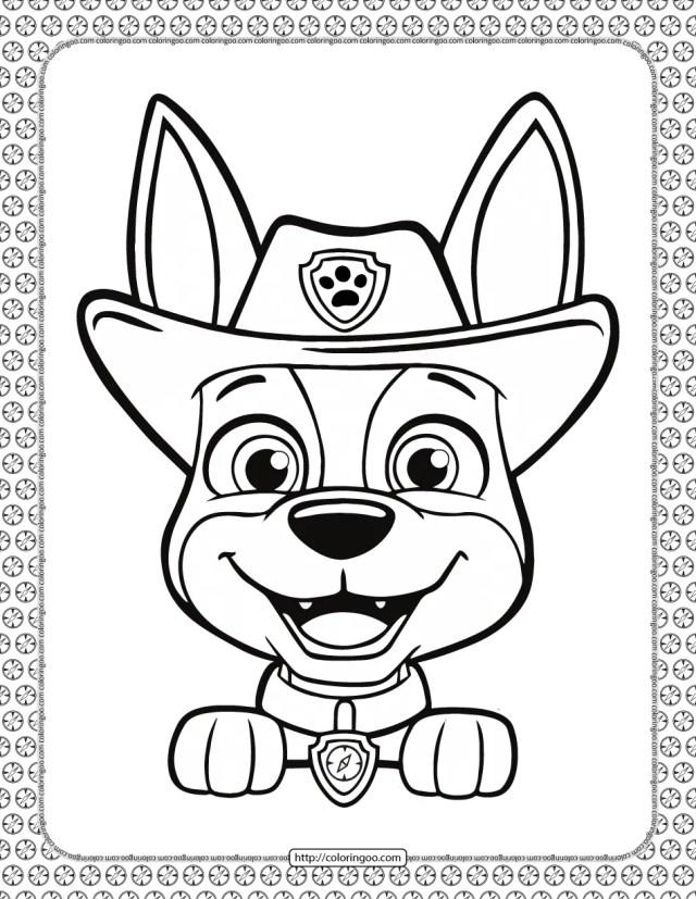 Printable Paw Patrol Tracker Head Coloring Page
