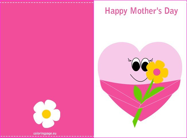 Mothers Day Printable Card Coloring Page