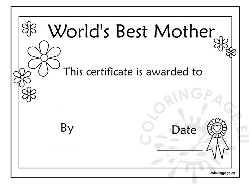 worlds mom certificate mother s day printable