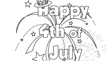 Heart Happy 4th of July coloring