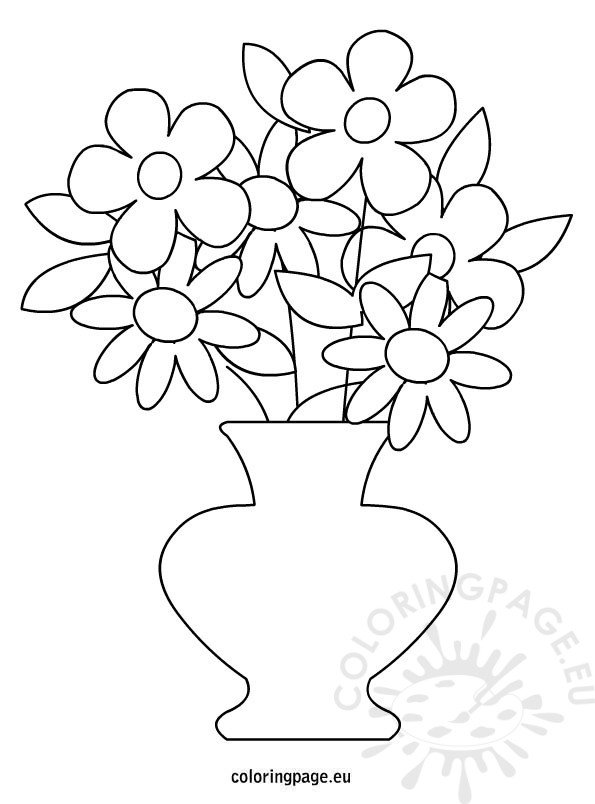 flowers pot coloring page