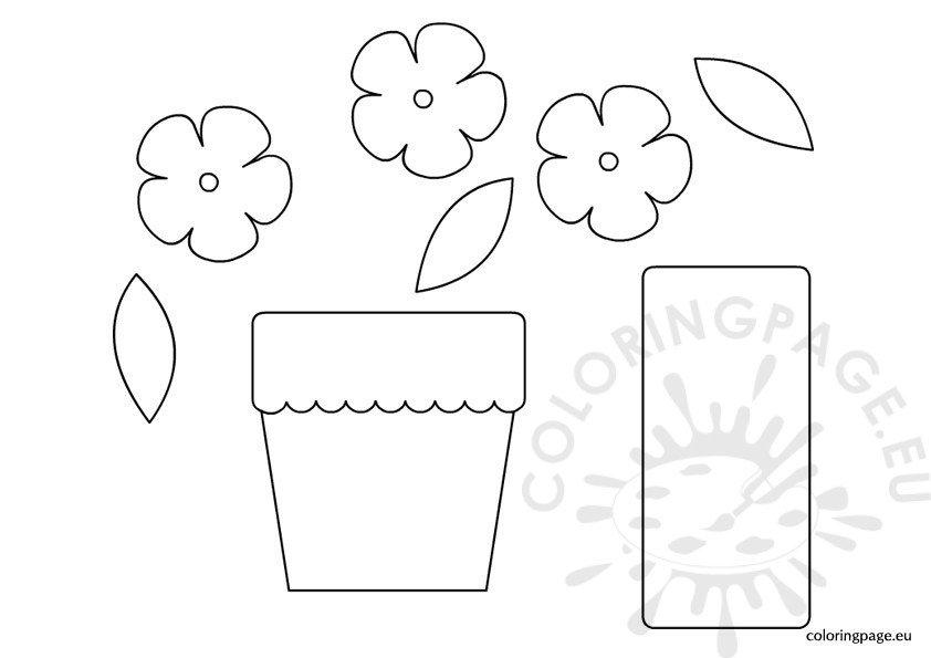 flower pot template paper flower pot template coloring page