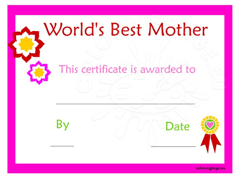free printable mother s day certificate
