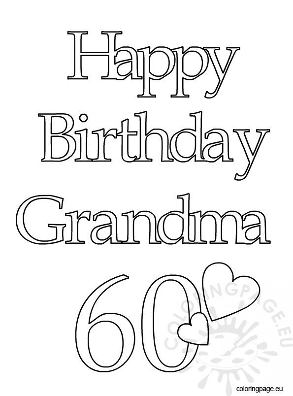 happy birthday grandma  – coloring page