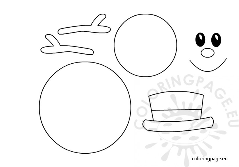 snowman template coloring page