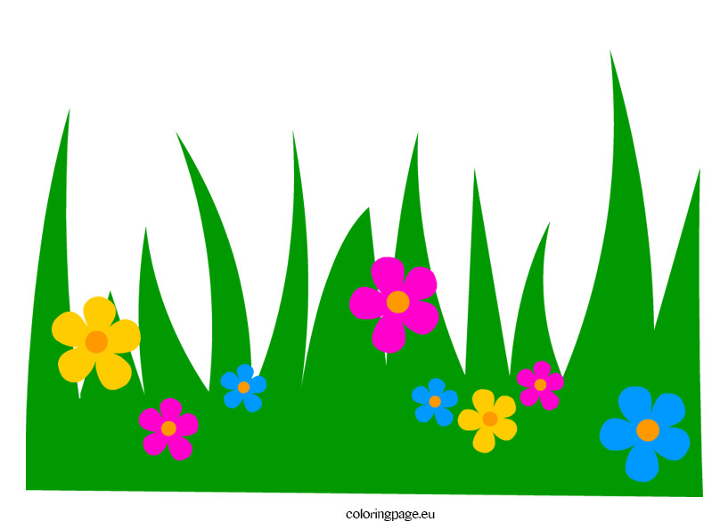 grass with flowers clip art coloring page