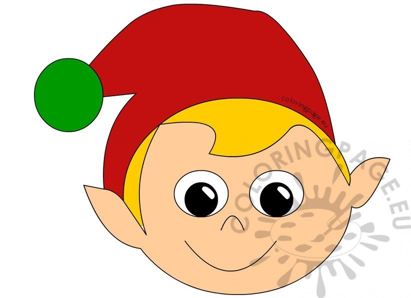 christmas elf mask coloring page