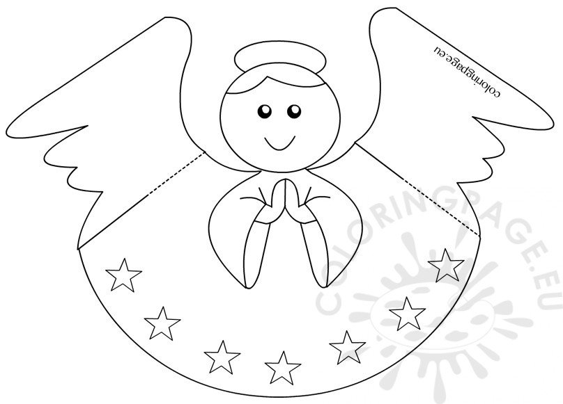paper angel template coloring page