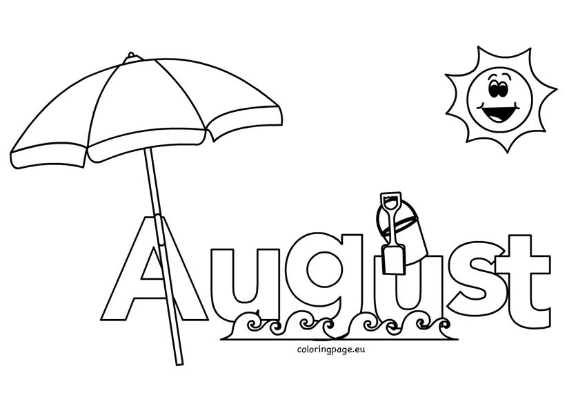 august pages for kids