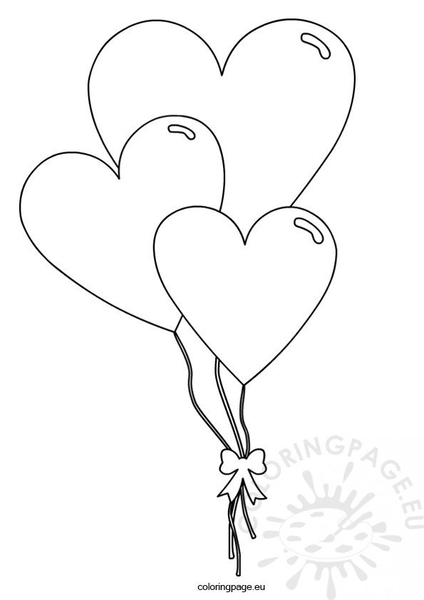 valentine 39 s day heart shaped balloons coloring page