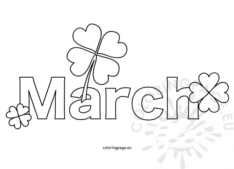 free month march coloring page