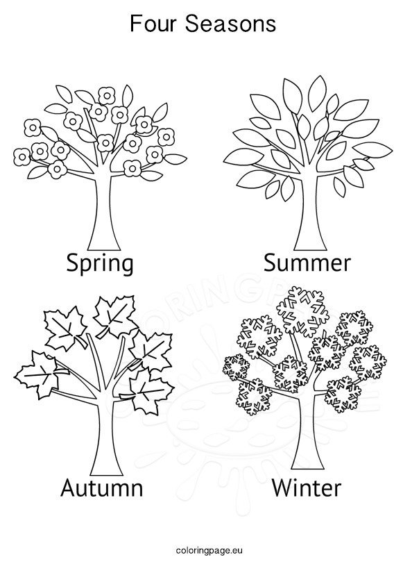 Winter, Spring, Summer and Fall Coloring Pages (With images ...   822x581