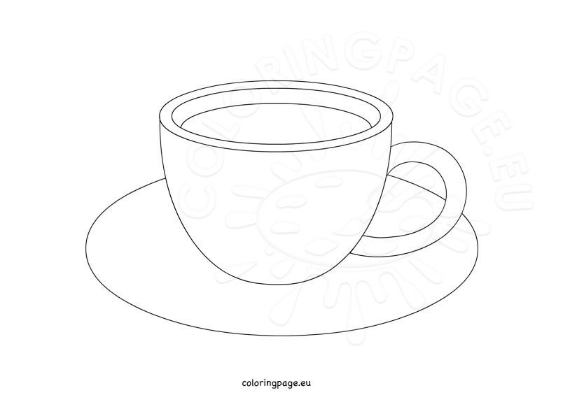 Coffee Cup Template Coloring Page
