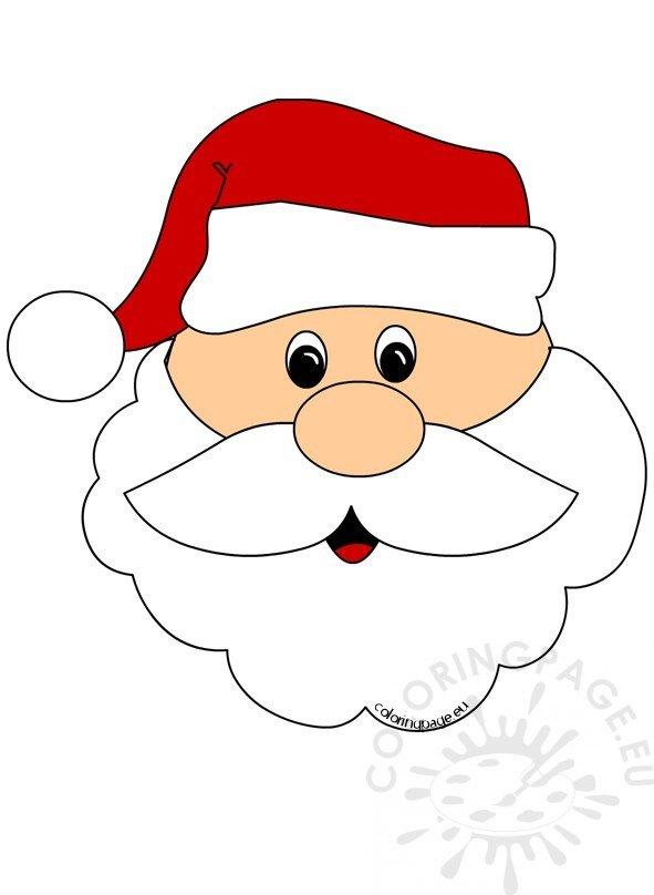 santa claus face cut out coloring page