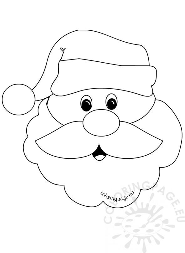 santa claus face with big beard coloring page