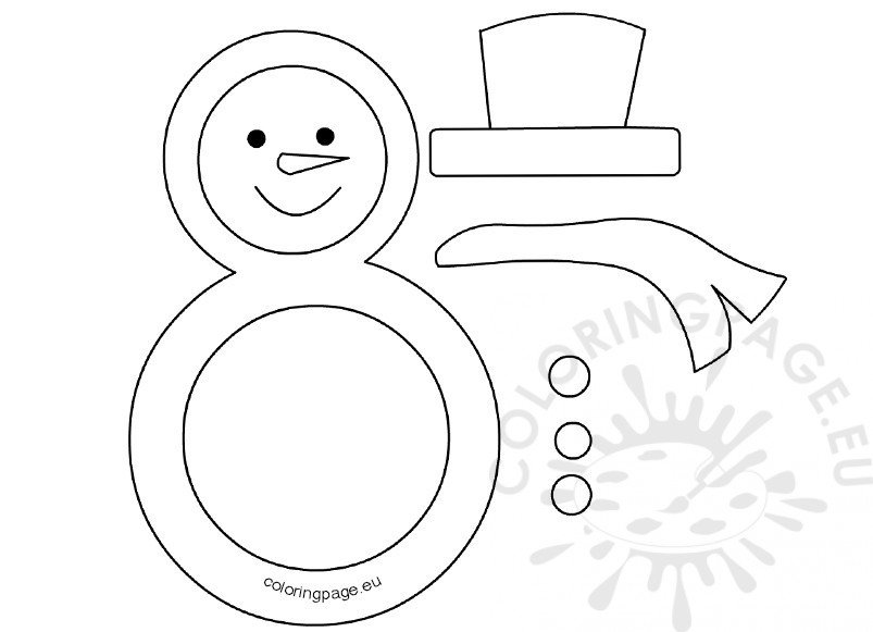 snowman black and white template page