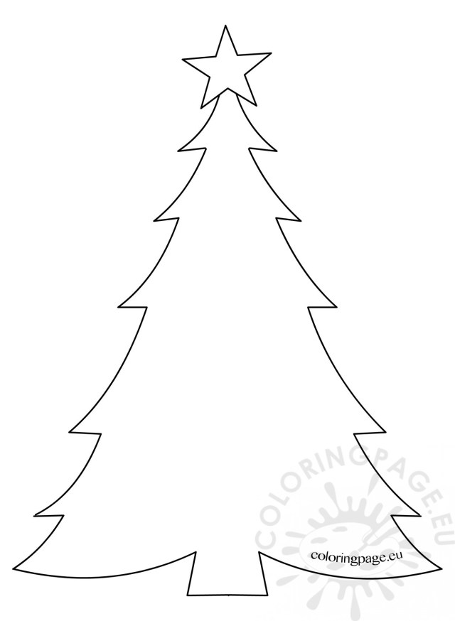 Template Christmas Tree with star – Coloring Page