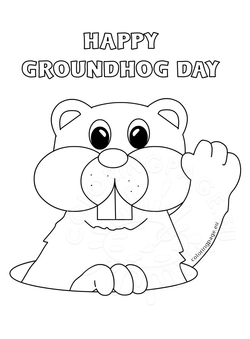 Groundhog Day 2017 Marmot Coloring Page