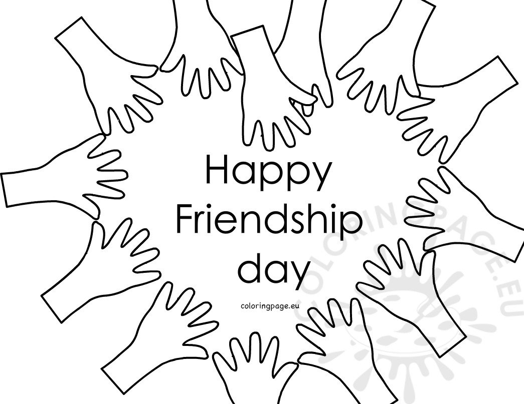 Happy Friendship Day Hands Forming Heart Coloring Page